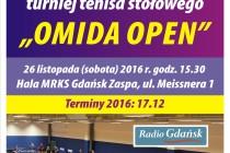 """VII Otwarty Turniej Tenisa Stołowego """"OMIDA OPEN"""" – 26 listopada 2016 r. godz. 15.30 Hala MRKS Gdańsk"""