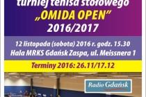 """VI Turniej Tenisa Stołowego """"OMIDA OPEN"""" – 12 listopada godz. 15.30 Hala MRKS Gdańsk"""