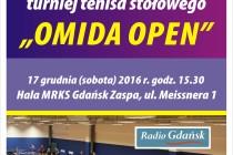 """VIII Otwarty Turniej Tenisa Stołowego """"OMIDA OPEN"""" – 17 grudnia br. godz. 15.30 ; Hala MRKS Gdańsk, ul. Meissnera 1"""