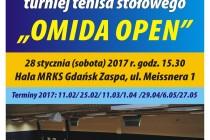 """IX Turniej Tenisa Stołowego Amatorów i Weteranów """"OMIDA OPEN"""" – 28 stycznia 2017 r. godz. 15.30 , hala MRKS Gdańsk"""