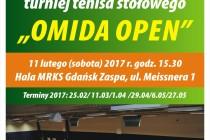 """X Turniej Tenisa Stołowego """"OMIDA OPEN"""" dla amatorów i weteranów – sobota 11 lutego 2017 r. godz. 15.30 , Hala MRKS Gdańsk ul. Meissnera"""