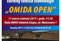 """XII Turniej Tenisa Stołowego """"OMIDA OPEN"""" dla amatorów i weteranów – sobota 11 marca 2017 r. Zapisy do 15.30 początek gier 16."""