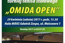 """XIV Turniej Tenisa Stołowego dla Weteranów i Amatorów """"OMIDA OPEN"""" 29 kwietnia (sobota) 2017 r. godz. 15.30 – Hala MRKS Gdańsk"""