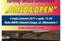 """XV Turniej Tenisa Stołowego dla Amatorów i Weteranów """"OMIDA OPEN"""" – 6 maja 2017 r. godz. 15.30 ; Hala MRKS Gdańsk ul. Meissnera 1"""