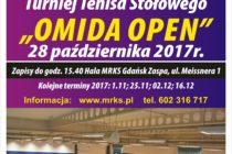 """IV Turniej """"OMIDA OPEN' – 28 października 2017 r. godz. 15.40 Hala MRKS Gdańśk ul. Meissnera 1"""