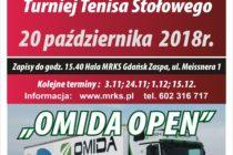 """IV Turniej Tenisa Stołowego """"OMIDA OPEN"""" dla amatorów i weteranów – Hala MRKS Gdańsk – 20 października 2018 r. godz. 15.40"""