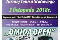"""V Turniej """"Omida Open"""" – 3 listopada 2018 r. – godz. 15.40 ; hala MRKS Gdańsk – ul. Meissnera 1"""