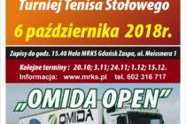 """III Turniej Tenisa Stołowego """"OMIDA OPEN"""" 6 października 2018 r. godz. 15.40 Hala MRKS Gdańsk"""