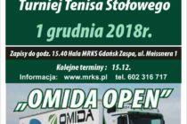 """VII Turniej """"OMIDA OPEN"""" dla amatorów i weteranów – 1 grudnia 2018 r. godz. 15.40 Hala MRKS Gdańsk ul. Meissnera 1"""