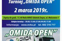 """XII """"OMIDA OPEN"""" – turnieje dla amatorów i weteranów – 2 marca 2019 r. Hala MRKS Gdańsk ul. Meissnera 1 – zapisy do 15.40"""