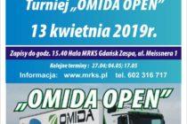 """13 kwietnia 2019 r. – XIV Turniej """"OMIDA OPEN"""" dla amatorów i weteranów – zapisy do 15.40. Hala MRKS Gdańsk"""
