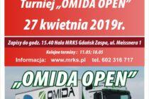 """Turnieje tenisa stołowego nr 15 i 15 """"OMIDA OPEN"""" dla amatorów i weteranów – 27 kwietnia i 11 maja 2019 r. Hala MRKS Gdańsk; zapisy do 15.40"""