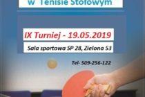 IX Turniej w cyklu Mistrzostw Gdyni w tenisie stołowym – 19 maja 2019 r. – Babie Doły – sala sportowa SP nr 28